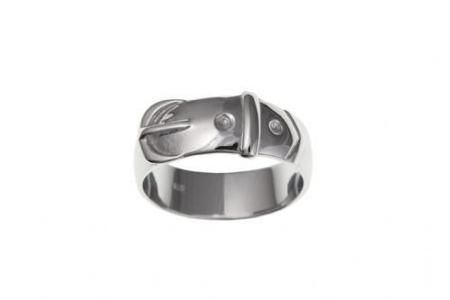 Silver Gents Polished Buckle Style Ring